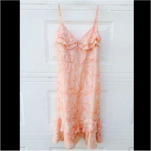 Coral Flowy Midi Dress